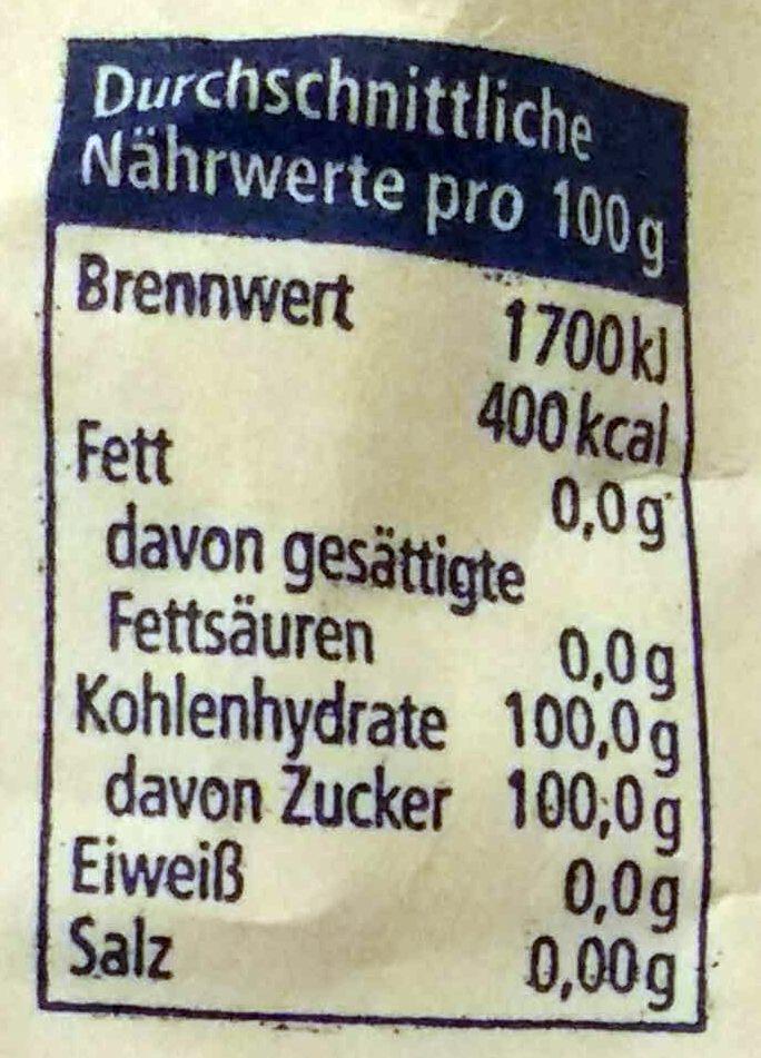 Raffinade-Zucker - 营养成分