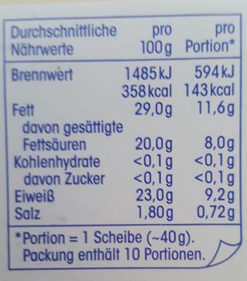 Gouda Jung 48% Fett i. Tr. - Nutrition facts