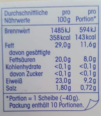 Gouda Jung 48% Fett i. Tr. - Nutrition facts - de