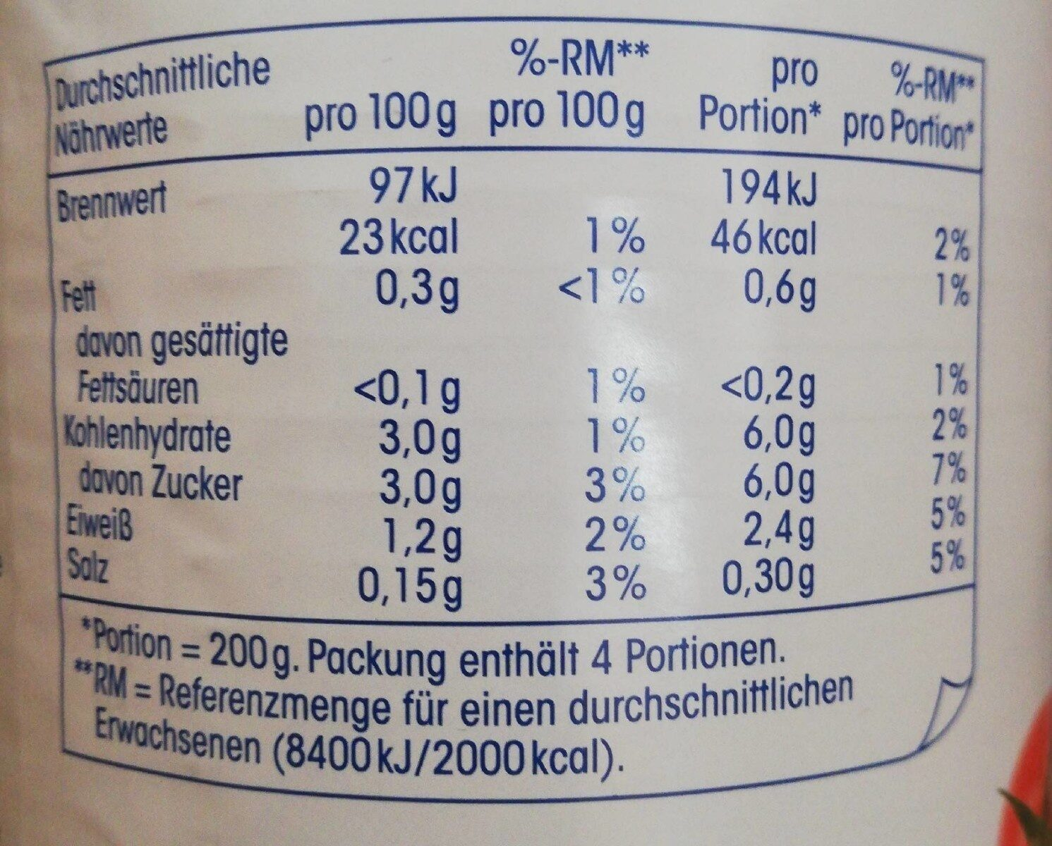Geschälte Tomaten in Tomatensaft - Nährwertangaben - de