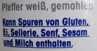 Weisser Pfeffer gemahlen - Ingredients
