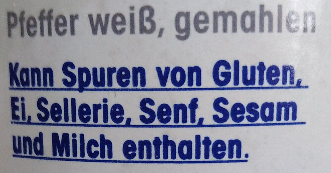 Weisser Pfeffer gemahlen - Ingredients - de