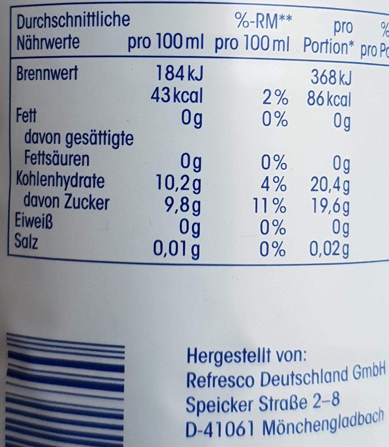 Apfelsaft - Valori nutrizionali - de