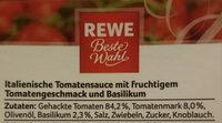 Tomaten Sauce Basilikum - Ingredients - de