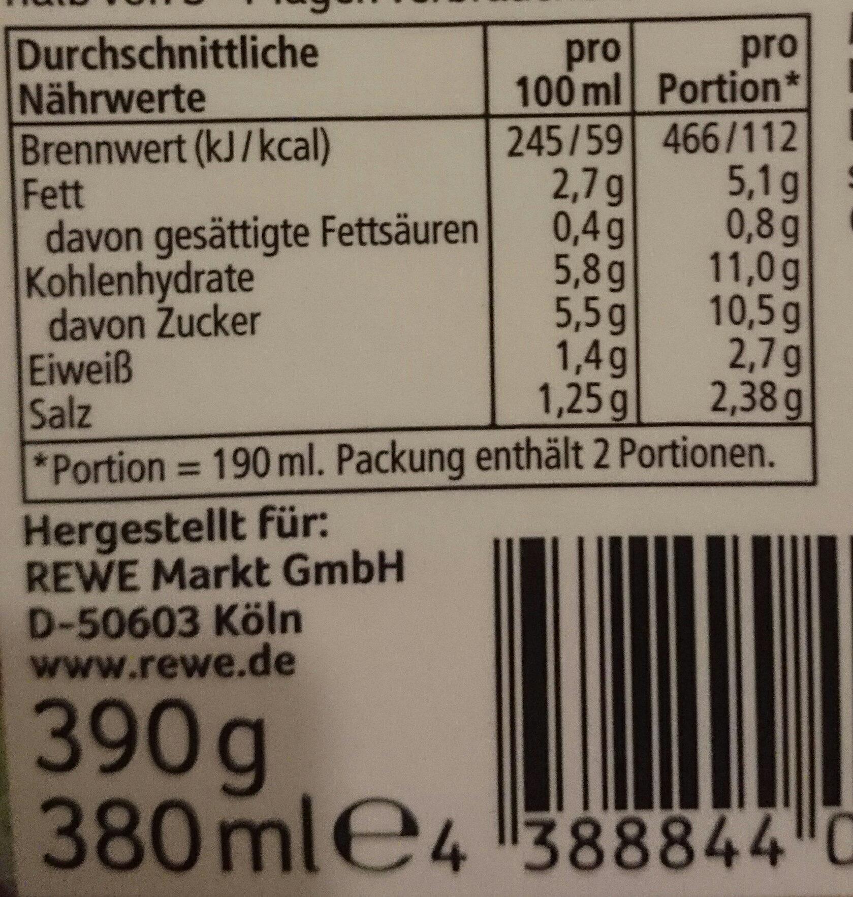 Tomaten Sauce Basilikum - Nutrition facts - de