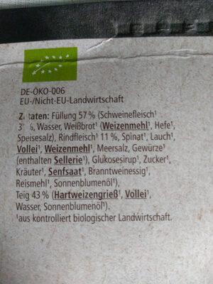 REWE Bii Maultaschen - Ingrédients - de