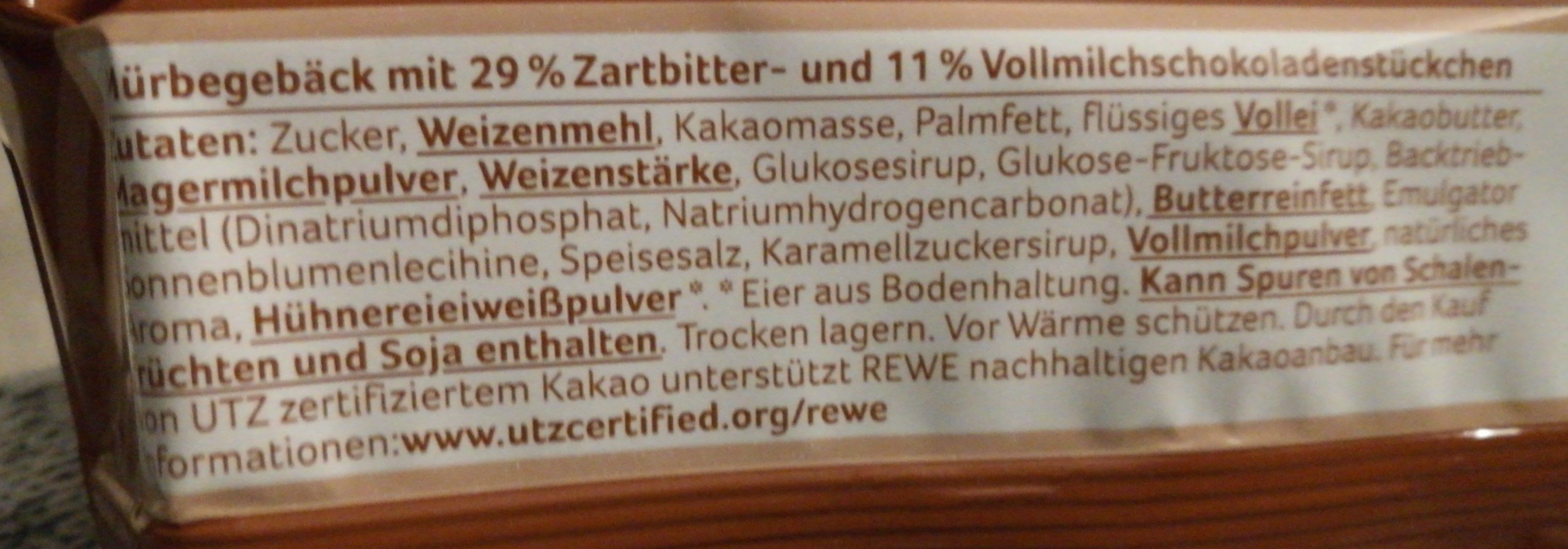 Cookies Mit 40% Schokolade - Rewe Beste Wahl - 150G - Ingrédients