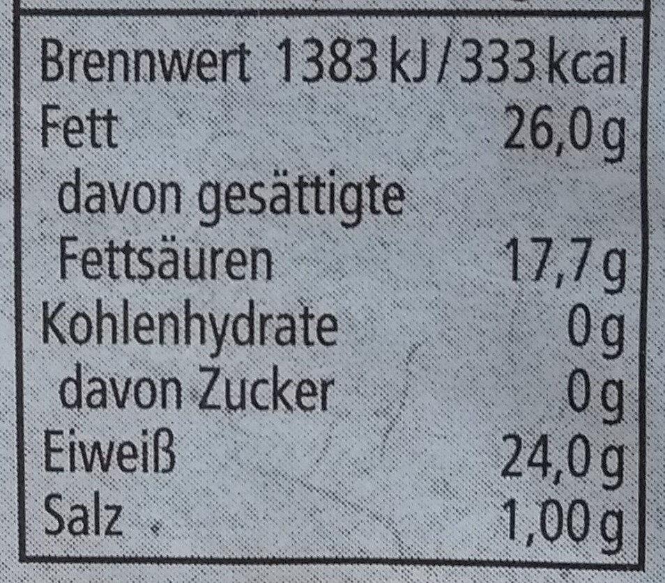 Maasdamer Käse aus Bio-Heumilch - Nährwertangaben - de