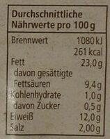 Bio Schinkenwurst - Nutrition facts
