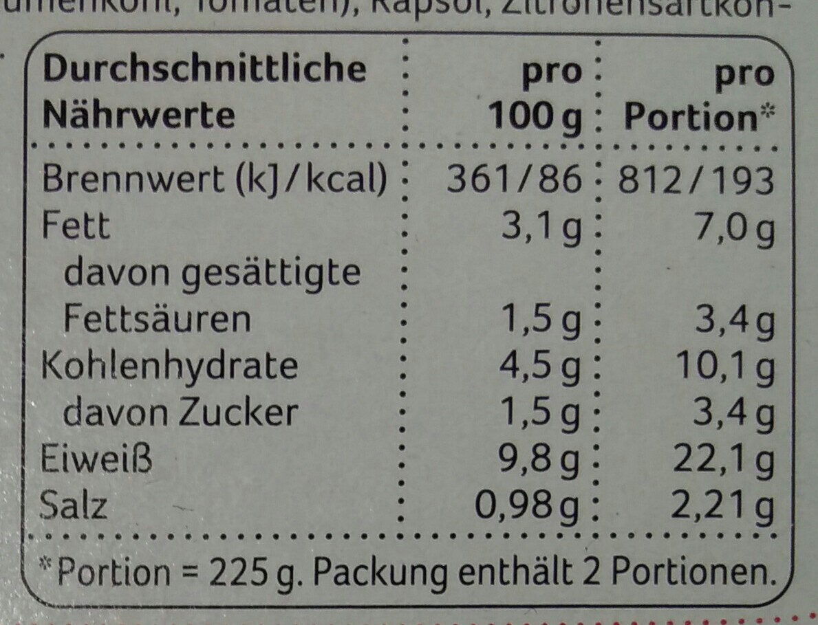 Hühnerfrikassee - Nutrition facts
