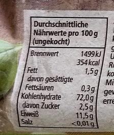 Linguine - Informations nutritionnelles - de