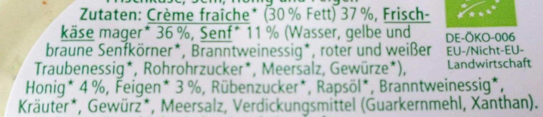 Brotaufstrich Senf-Honig-Feige - Ingredients