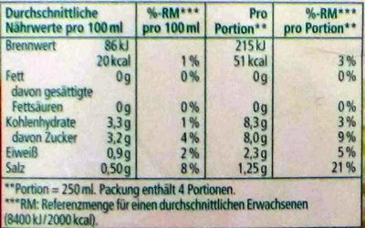 Tomaten-Gemüsesaft - Informations nutritionnelles - de