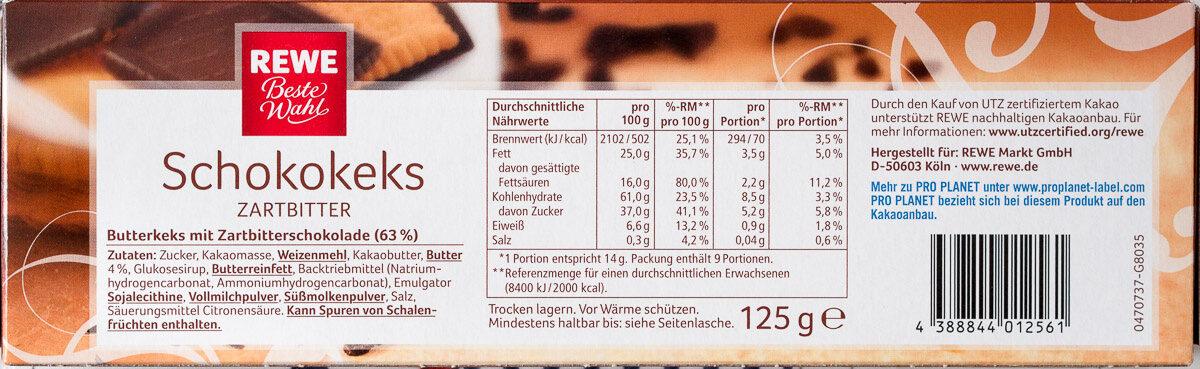 Schokokeks zartbitter - Voedingswaarden