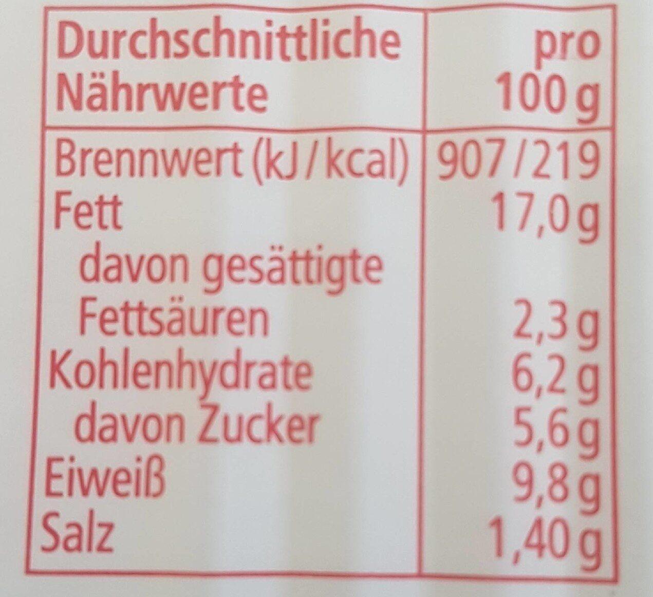 Heringsfilets in Tomatencreme - Nährwertangaben - de