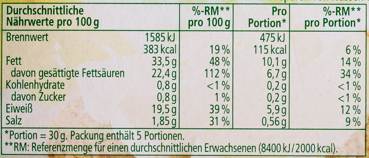 Camembert 60% Fett i. Tr. - Voedingswaarden - de