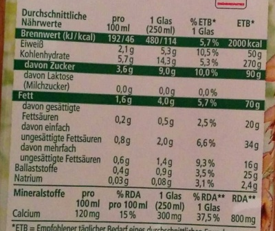 Hafer-Soja-Drink - Nutrition facts