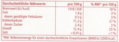 Lasagneplatten REWE - Nährwertangaben