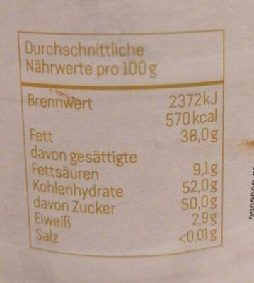 Dunkle Kakao Creme - Valori nutrizionali