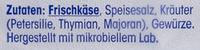 Kräuter Frischkäse - Ingrédients - de