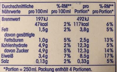 Frische fettarme Vollmilch - Informations nutritionnelles - de