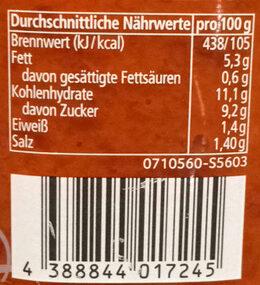 Ajvar mild - Informations nutritionnelles - de
