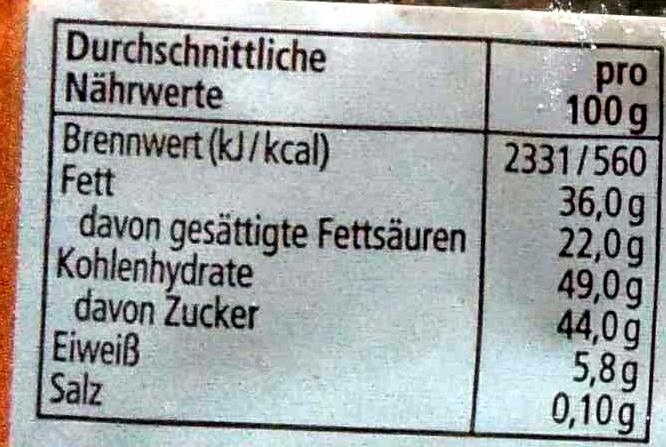 Zartbitter Kuvertüre - Informations nutritionnelles