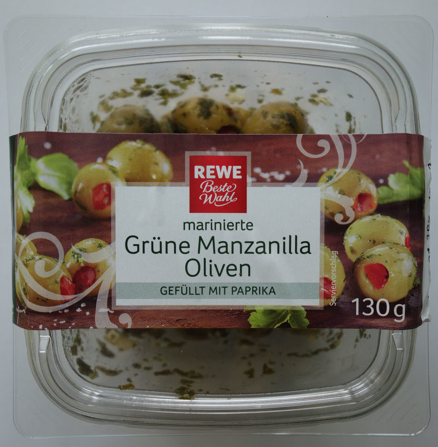 Grüne Manzanilla Oliven, gefüllt mit Paprika - Produit - de