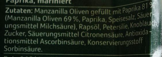 Grüne Manzanilla Oliven, gefüllt mit Paprika - Ingrédients - de