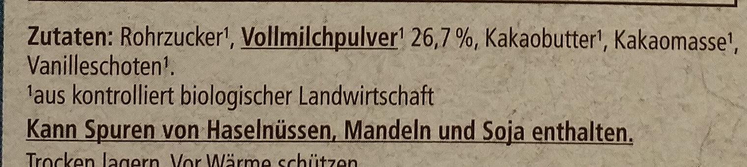 Schweizer Edelvollmich Schokolade - Zutaten - de