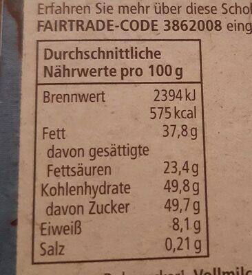 Schweizer Edelvollmich Schokolade - Nährwertangaben - de