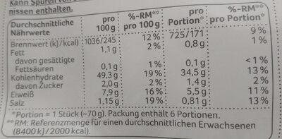 Ciabatta Brötchen - Voedingswaarden - de