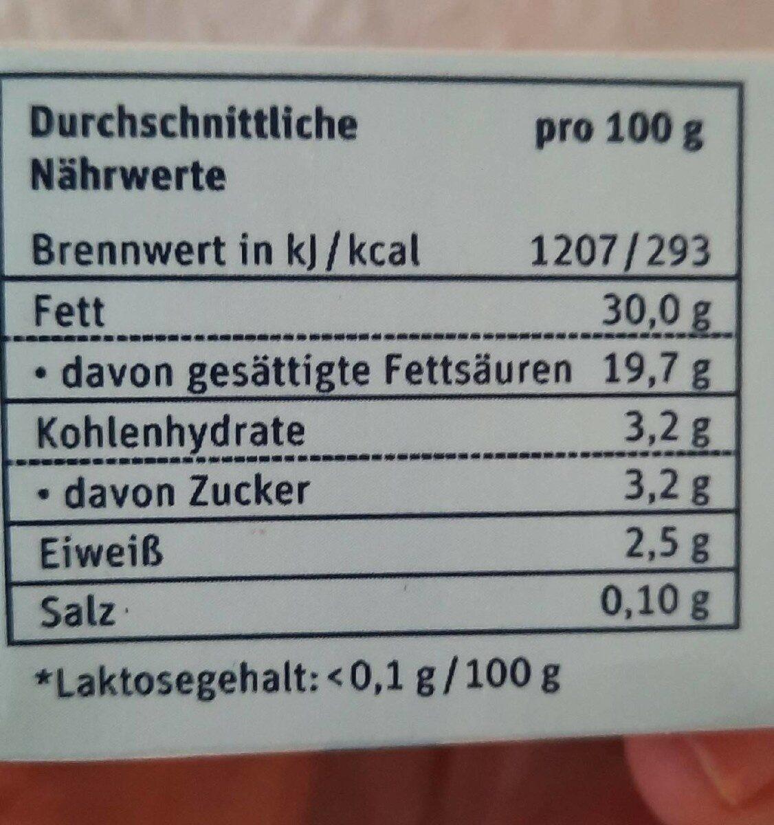 Frei Von H Schlagsahne Laktosefrei, Schlagsahne - Nährwertangaben - de