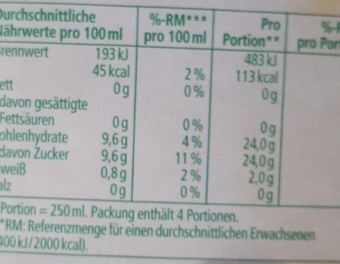 Orangensaft - Información nutricional - de