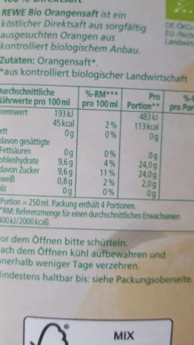Rewe Bio Orangensaft, 100% Direktsaft - Nährwertangaben - de