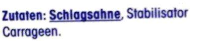 H-Schlagsahne - Inhaltsstoffe
