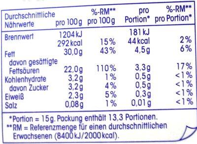 H-Schlagsahne - Nährwertangaben
