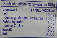 Mettenden - Nutrition facts - de