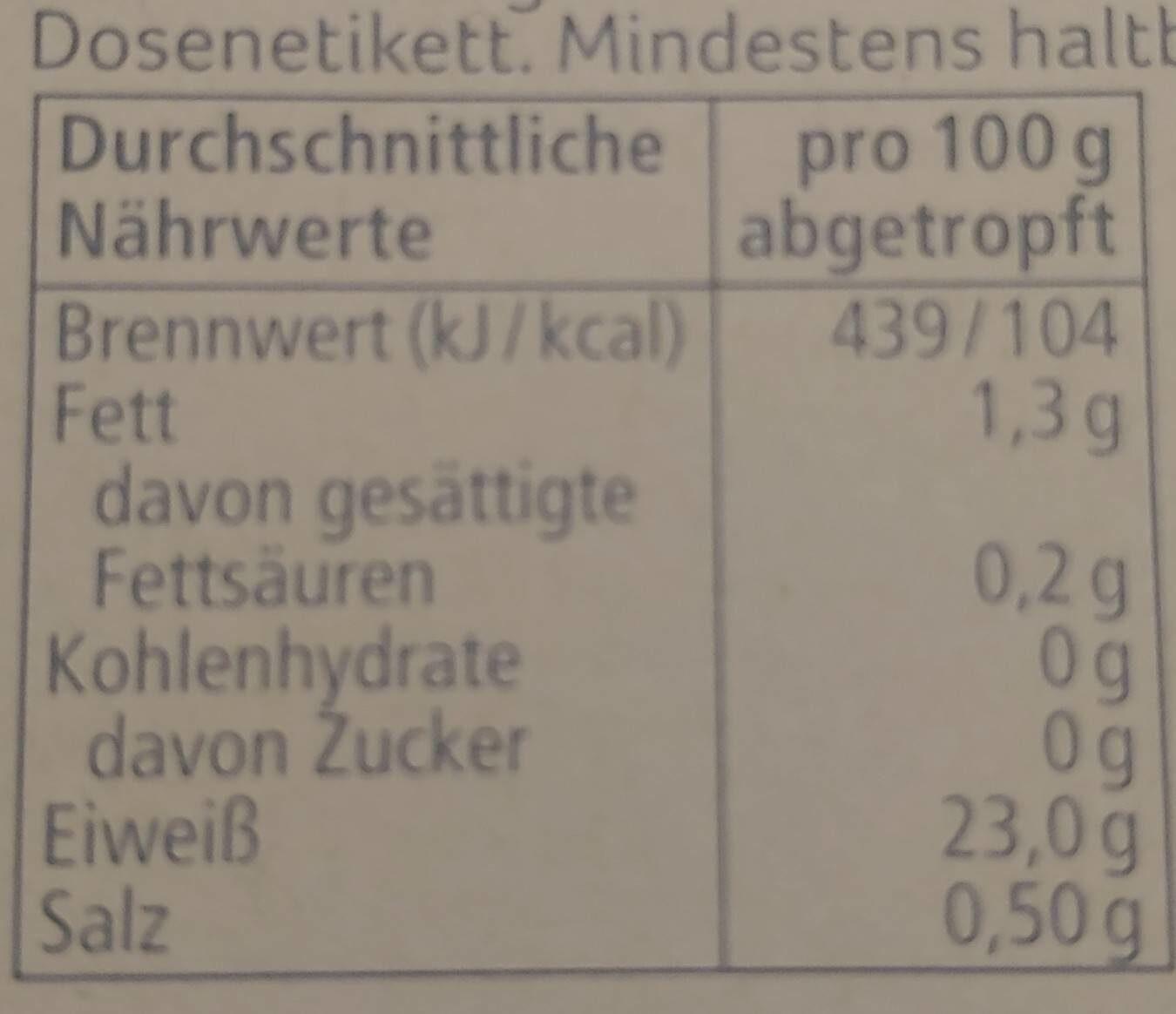 Thunfisch-Filets - Nährwertangaben - de