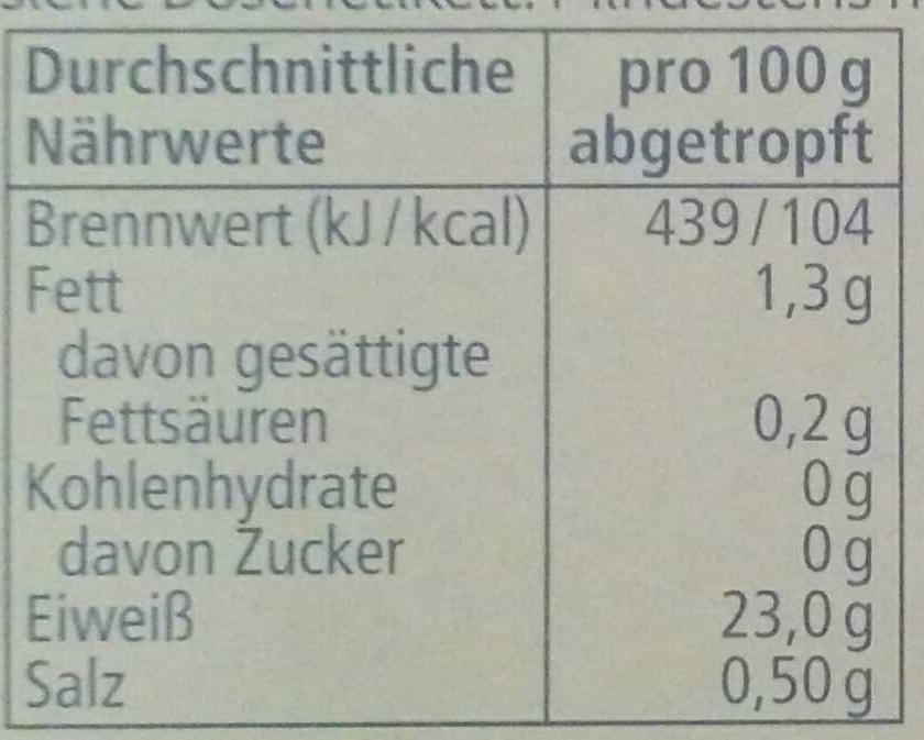 Thunfisch-Filets - Informations nutritionnelles - de