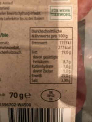 Bio Geflügelsalami - Voedingswaarden - de