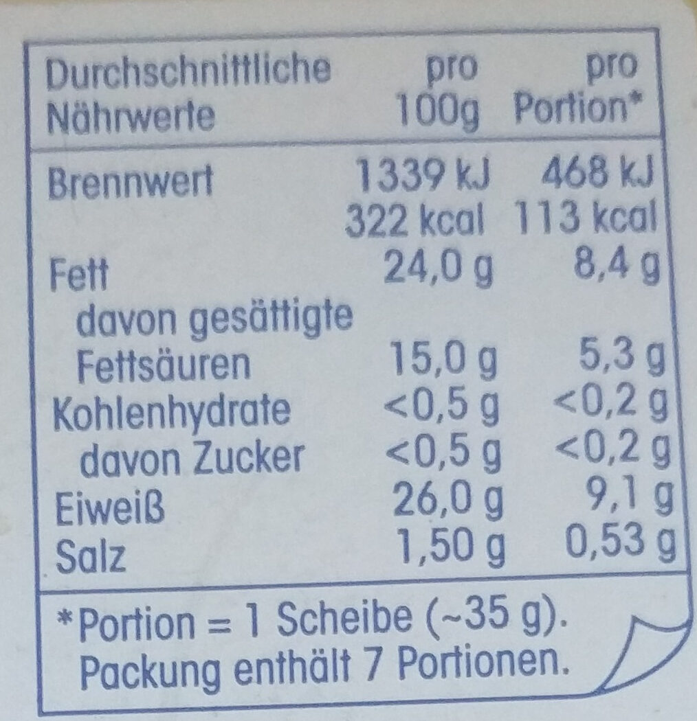 Käse-Aufschnitt - Nutrition facts
