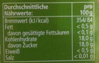 Apfelmus, Golden Delicious - Informations nutritionnelles - de