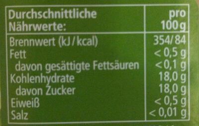 Apfelmus, Golden Delicious - Informations nutritionnelles