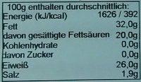 Irischer Cheddar aromatisch - Nährwertangaben - de