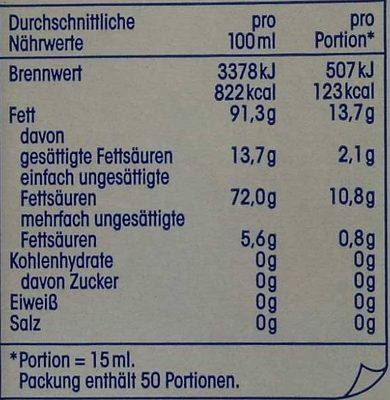 Natives Olivenöl Extra - Nutrition facts - de
