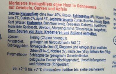 Sahne Heringsfilets nach Hausfrauen-Art - Ingrédients - de