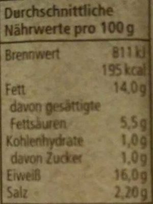 Jagdwurst - Nährwertangaben - de