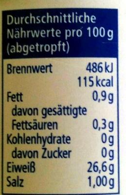 Thunfisch-Filet - Nährwertangaben