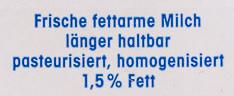 Frische fettarme Milch - Ingrédients - de